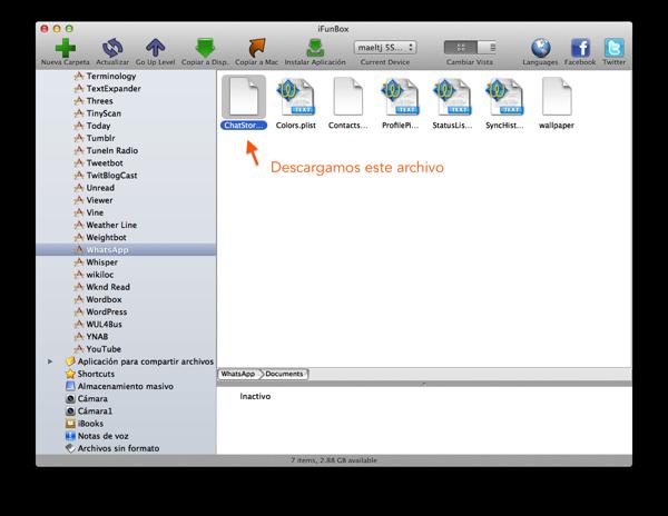 Captura de pantallaiFun Box selección de archivo sqlite a descargar