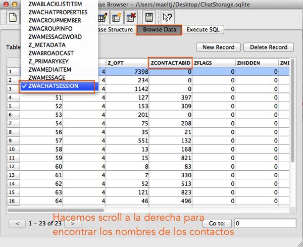 Captura de pantalla SQLite Data Browser localización de ABID de contacto